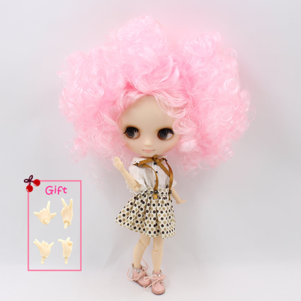 Nude Factory Middle Blyth doll Series No QE126 107 Pink curly hair Matte face suitable for