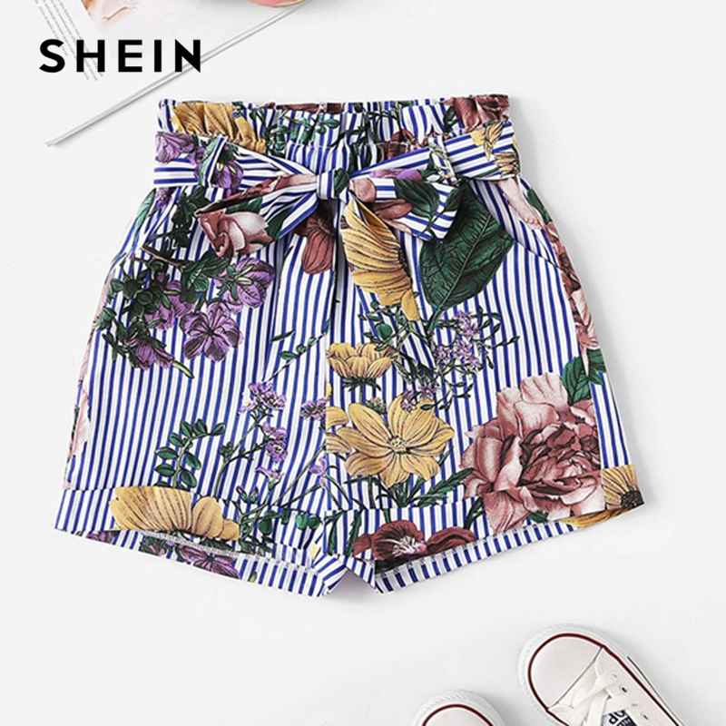 SHEIN Kiddie Girls Self Belted Striped And Floral Boho Shorts Kids Bottom 2019 Summer Beach Style Elastic Waist Pocket Shorts