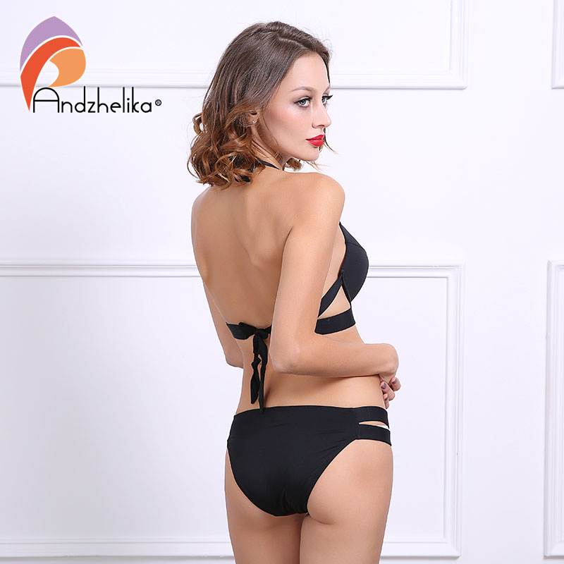 Andzhelika Bikinis Women Black Bandage Swimsuit 2018 Sexy Push Up Swimwear Low Waist Bathing Suit Halter Bikinis Suit Swim 2