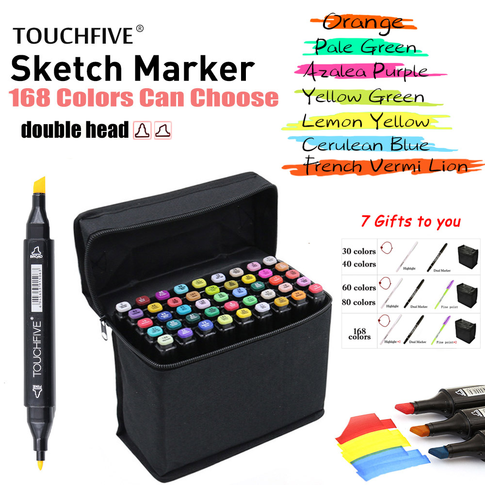 TouchFIVE Marker 30/40/60/80/168Color Drawing Brush Pen Oily Alcohol Based Art Markers Set Dual Tip Sketch Markers for Animation
