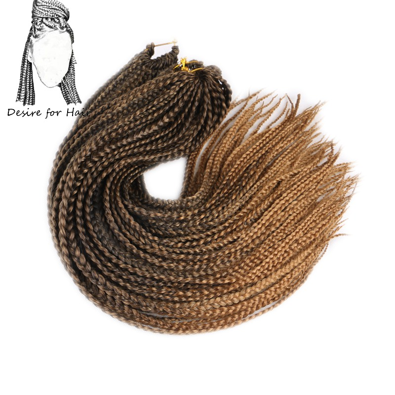 Desire For Hair 22 Strands 14 18 24inch Thin Small Box Braids Synthetic Braiding Hair Extensions Crochet Braids Black 27# Grey