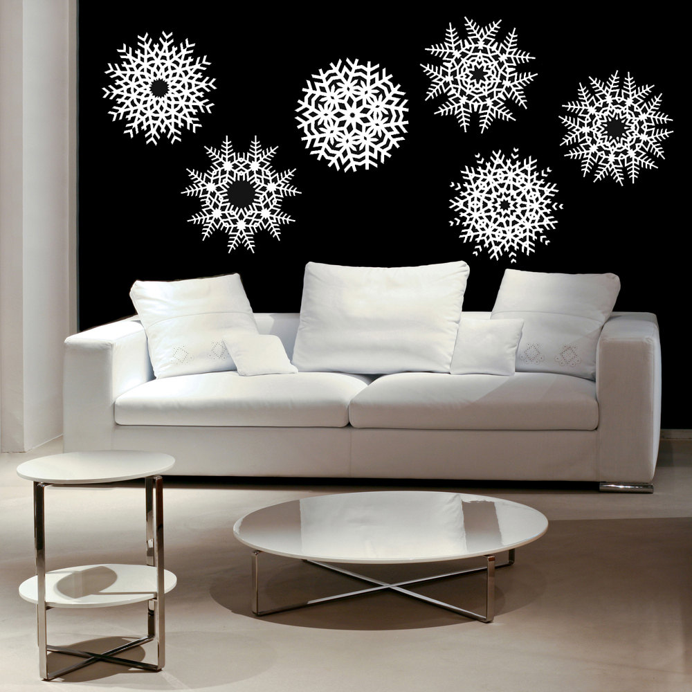 Winter Living Room Decorating: Large Size Snowflakes Wall Stickers For Living Room Snow