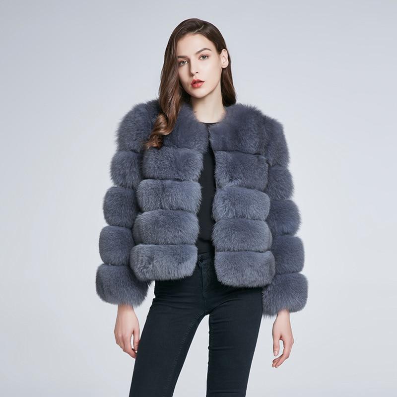 Harppihop женское теплое пальто из натурального Лисьего меха короткая зимняя меховая куртка верхняя одежда пальто из натурального синего лисье