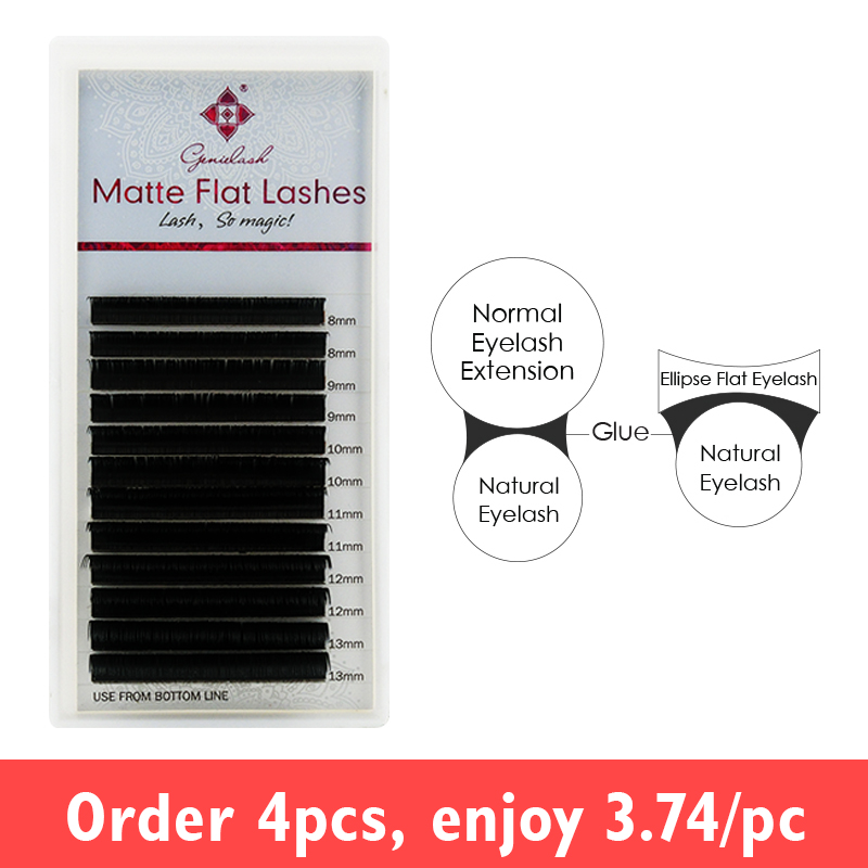 Genie Matte Flat Lashes For Eyelash Extensions Ellipse Roots Softer Tips Less Pressure On The Eyes Flat Lash Extenstions
