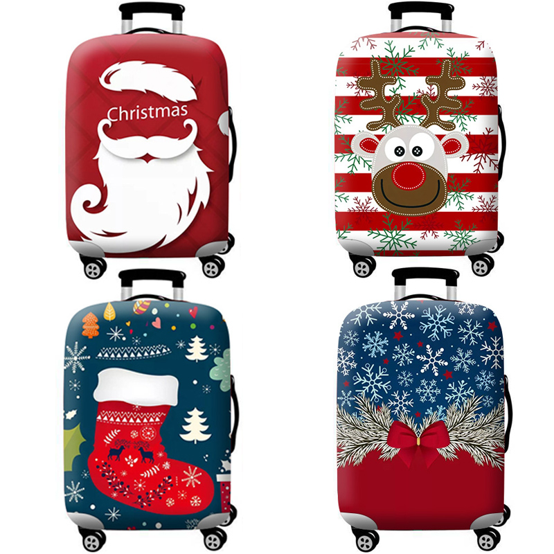 Christmas pattern Stretch Fabric Luggage Protective Cover Suit 18-32 Inch Trolley Suitcase Case Covers Travel AccessoriesChristmas pattern Stretch Fabric Luggage Protective Cover Suit 18-32 Inch Trolley Suitcase Case Covers Travel Accessories