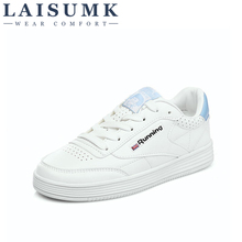2019 LAISUMK Leather Women's White Platform Sneakers Spring Autumn Fashion Women Lace-up Flats Shoes Casual Woman Footwear pu leather shoes women white sneakers spring autumn women lace up flats shoes casual woman footwear ladies platform shoes