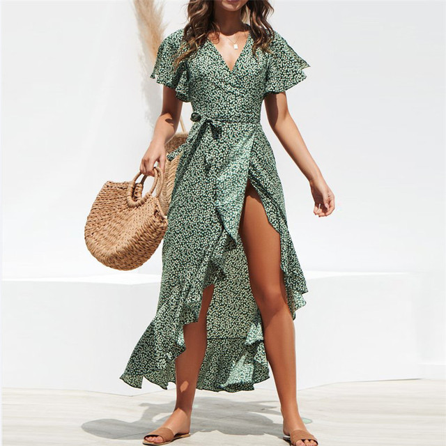 Summer Beach Maxi Dress Women Floral Print Boho Long Chiffon Dress Ruffles Wrap Casual V-Neck Split Sexy Party Dress Robe Femme 2