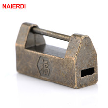 NAIERDI Vintage Antique Zinc Alloy Chinese Old Lock Retro Padlock Jewelry Wooden Box for Suitcase Drawer Cabinet
