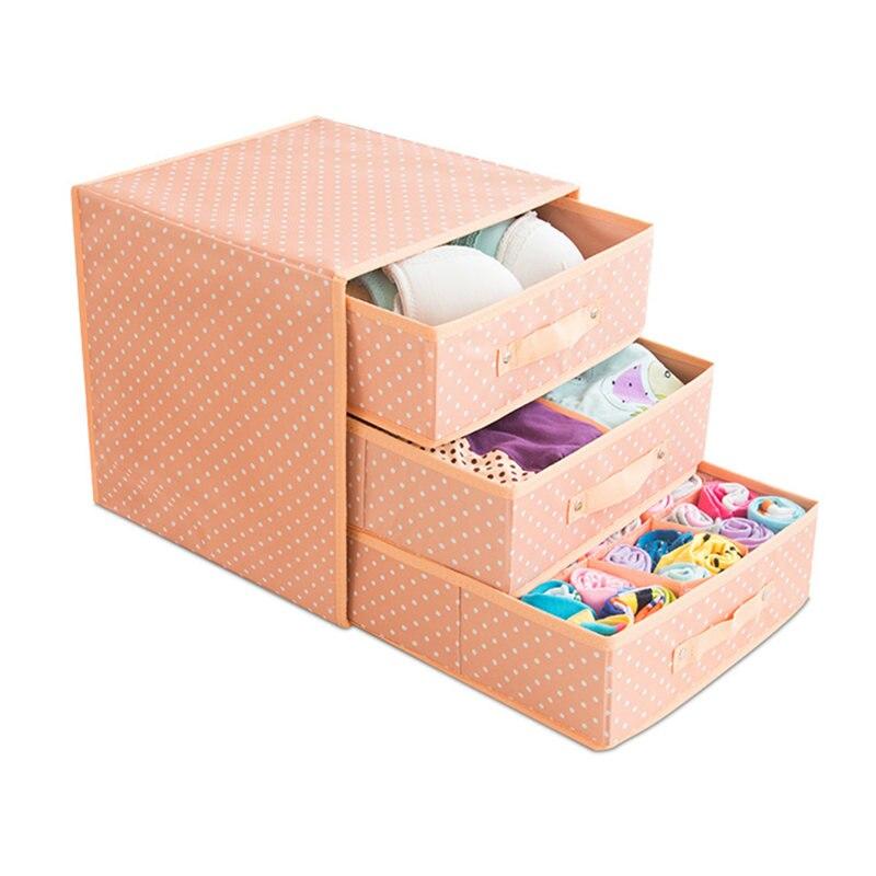 31*31*32 cm sous-vêtements tiroir organisateur 3 couche Dots imprimé soutien-gorge chaussettes boîte de rangement placard organisateurs vêtements et garde-robe stockage