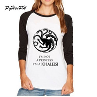 Juego de Tronos Camisetas Mujeres Lobo Stark Se Acerca el Invierno cabeza de La Manga Completa camiseta Femme mujeres Tops Frescos de la Marca ropa