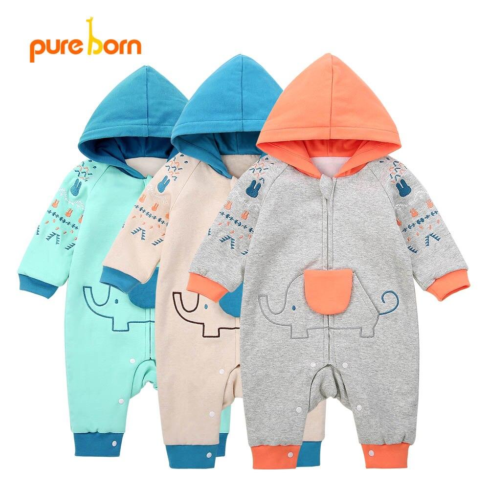 Pureborn детские комбинезоны для мальчиков Одежда для маленьких девочек Весенняя хлопковая Костюмы для новорожденных мультфильм комбинезон Д... ...