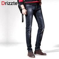 Drizzte Brand New Fashion Style Czarny Szary Slim Fit Jeans dla Mężczyzn Casual Denim Jeans Men Spodnie Spodni