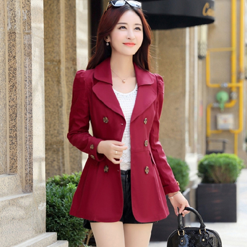spring Women Double Breasted   Trench   Coat Khaki vintage Casual Office Lady Business short Outwear