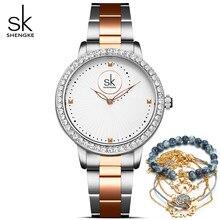Shengke relógios femininos marca de luxo moda casual senhoras quartzo diamante genebra senhora pulseira relógios de pulso para mulher relógio hou