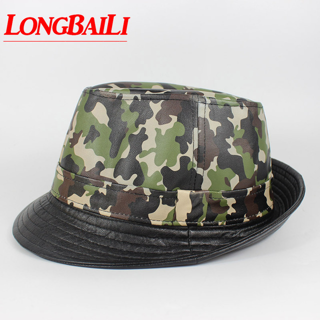 2905b52181ab4 Fashion Patchwork Mens Faux Leather Camouflage Fedora Hats Chapeu Jazz  Trilby Hats Free Shipping MEDB027