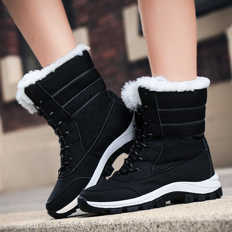 Image 4 - Waterproof Snow Boots Womens Shoes With Fur Winter Warm Flats Ankle Botas Anti slip Female Sneakers Zapatos Mujer Big Size 42-in Ankle Boots from Shoes