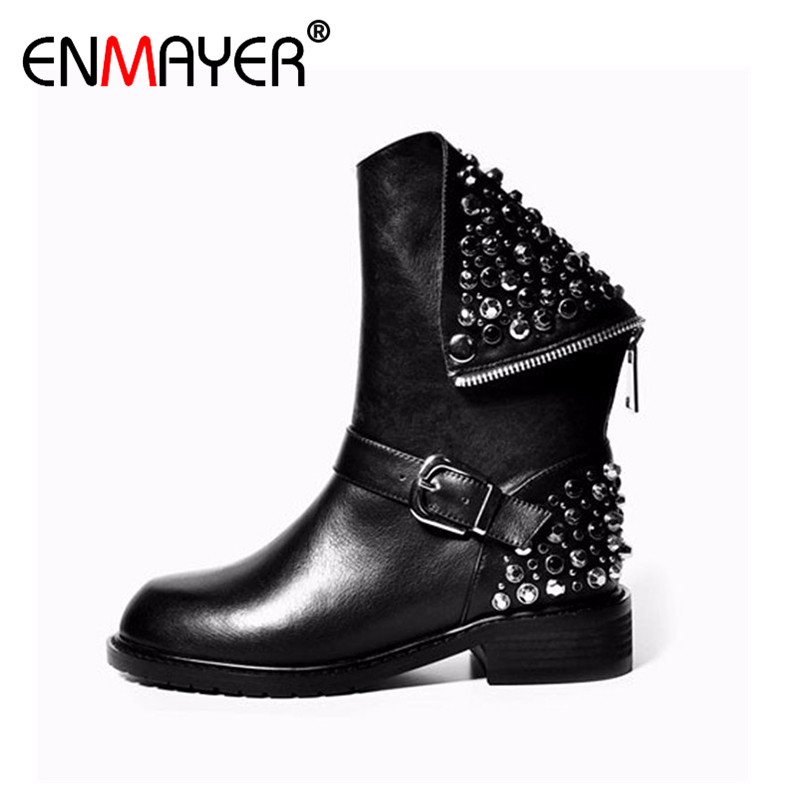 ENMAYER Genuine Leather Fashion Female Cool Motorcycle Boots Fashion Zipper Boots Comfortable Ankle Boots for Women Martin Boots enmayer new motorcycle boots for women sexy rivet shoes fashion martin boots genuine leather boots