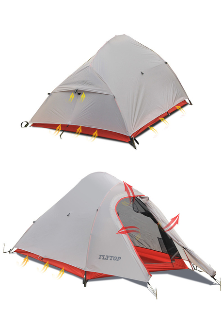 Ultralight Flytop 20D Silicon Nylon 2 Person Tent Hiking Trekking 2