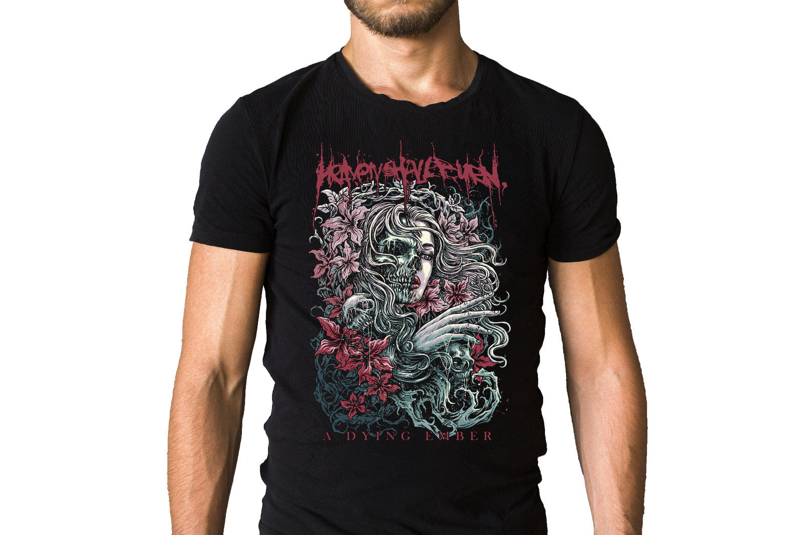 Heaven Shall Burn A Dying Ember Black T-Shirt Hip-Hop Simple Splicing Tee Tops Shirt Summer Short Sleeves Cotton T Shirt Top Tee
