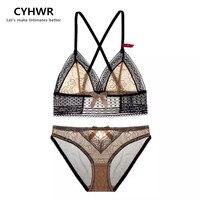 CYHWR Sexy Ultra Thin Transparent Wire Free Intimates Cozy Lace Patchwork Underwear Bra Set
