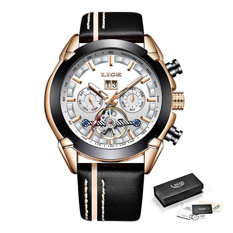 LIGE hommes montres Top marque de luxe automatique mécanique montre en cuir étanche Sport montre hommes Date entreprise horloge Reloj Hombre - 6