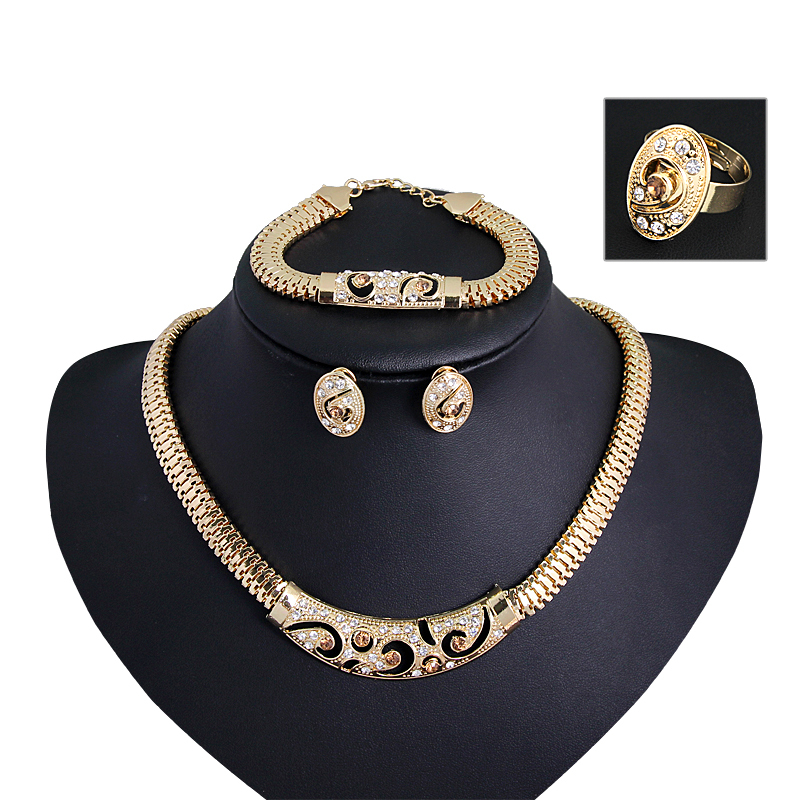 African Jewelry Sets For Women 18K Gold Plated Necklace Wedding Bridal Party Set