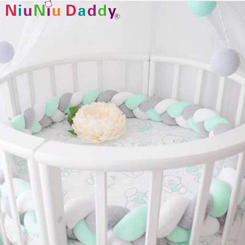 Niuniu Daddy Braided Strip 200cm Long Knotted Stuffed Cotton Simple Crib Fenced Sofa Pillow Newborn Children's Room Decoration diamante azul
