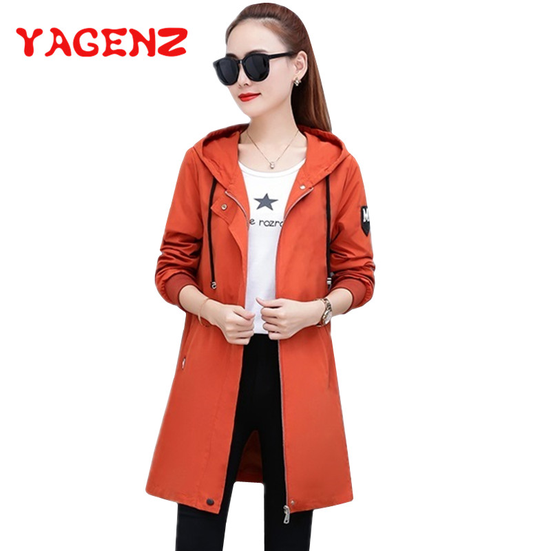 YAGENZ Plus size   Trench   Coat For Women clothes Hooded Long Windbreaker Coats Fashion Korean Spring Coat Womens Tops Blouses 292
