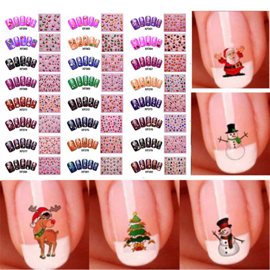 DIY Nail Sticker OutTop 50PCS New Nail Art Sticker Water Transfer Stickers Pretty Fashion Christmas 3D Nails Decoration Flower diy christmas pattern decoration nail sticker multicolored 2pcs