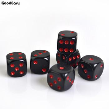 Zestaw kości kasyna 16mm kostki akrylowe czerwone czarne kości z cyframi do picia gry hazardowe 6 stron Poker Party Game Fatory Price tanie i dobre opinie Cyfrowy kości goodeasy DICE Red Black Acrylic 16x16mm