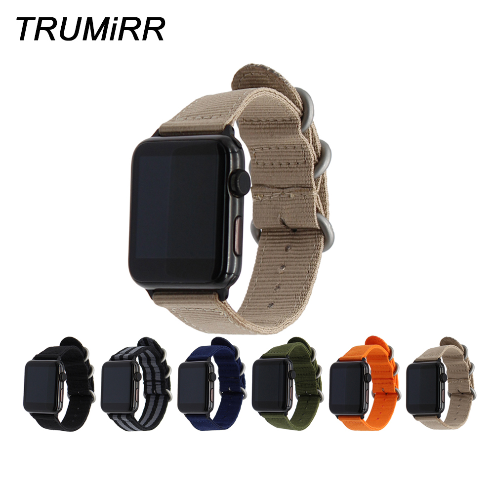 Nylon Watchband for iWatch Apple Watch 38mm 40mm 42mm 44mm Series 4 3 2 1 Steel Zulu Ring Band Fabric Strap Wrist Belt Bracelet 24mm nylon watchband for suunto traverse watch band zulu strap fabric wrist belt bracelet black blue brown tool spring bars