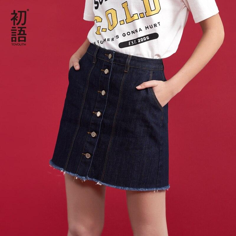 0bce67e66f5511 Beste Koop Toyouth Denim Rokken Vrouwen Zomer Nieuwe Mid Taille Mini Jeans  Rokken Button All Match Vrouwelijke Rok Goedkoop
