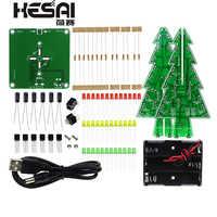 Dreidimensionale 3D Weihnachten Baum LED DIY Kit Rot/Grün/Gelb RGB LED Flash Schaltung Kit Elektronische Spaß Suite