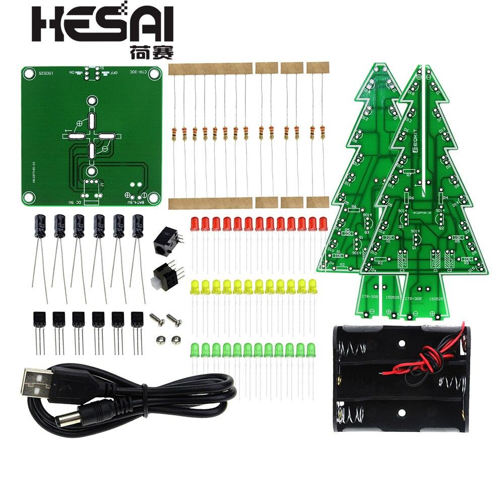 Kit de bricolage de LED d'arbre de noël 3D en trois dimensions rouge/vert/jaune Kit de Circuit Flash de LED rvb Suite d'amusement électronique