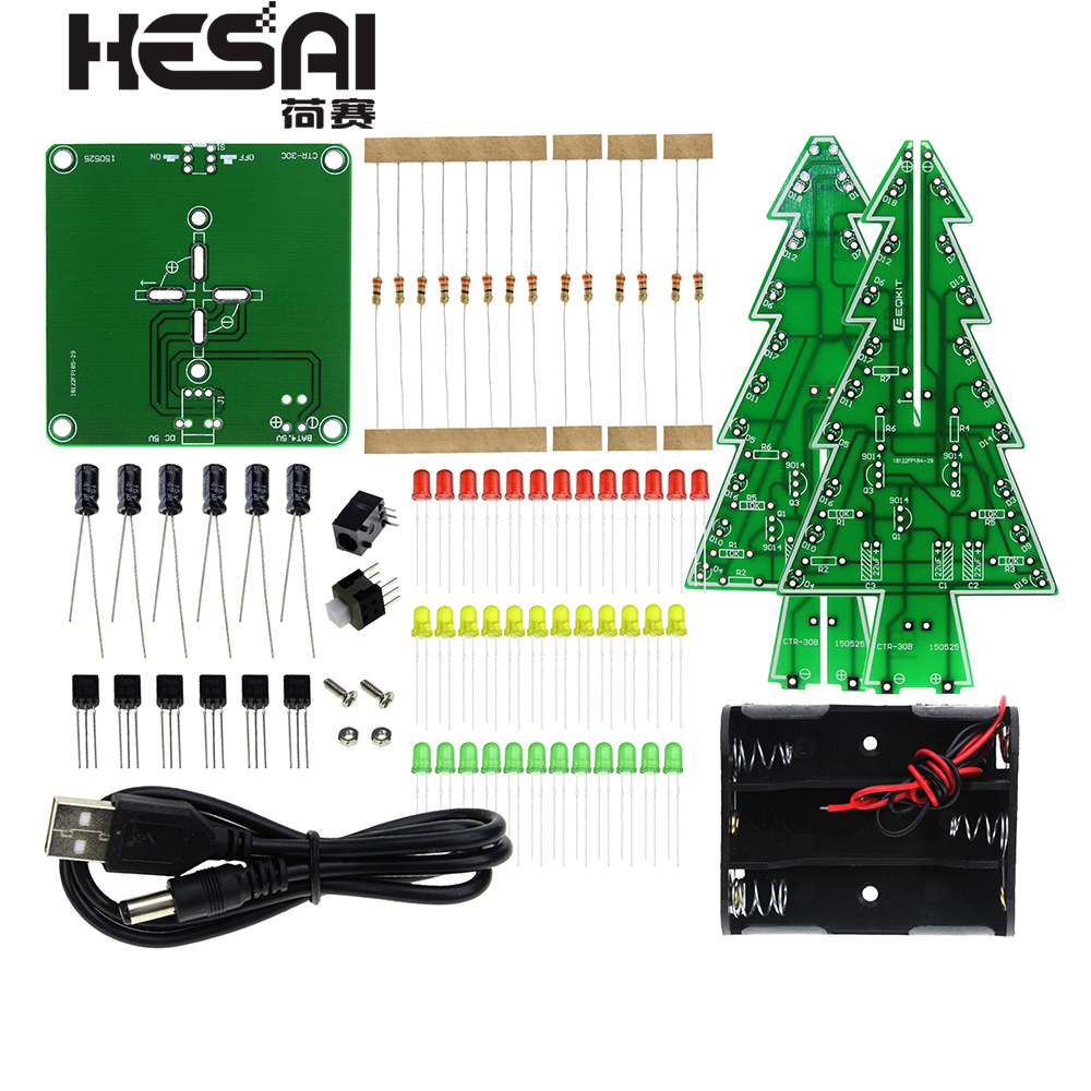 Three Dimensional 3D Christmas Tree LED DIY Kit Red/Green/Yellow RGB LED Flash Circuit Kit Electronic Fun Suite-in Integrated Circuits from Electronic Components & Supplies