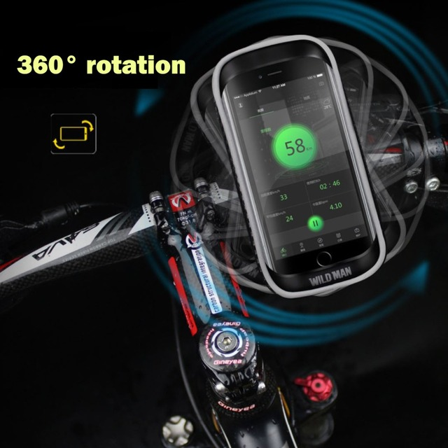Manillar de bicicleta WILDMAN 360 giratorio impermeable, soporte de montaje de teléfono para bicicleta, bolsa de bicicleta Universal para teléfono móvil de menos de 6,2 pulgadas