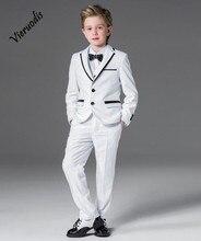 White Notch Lapel Kids Handsome Suits Wedding Groom Tuxedos Boys Party Prom Suit notch lapel floral print back vent coat