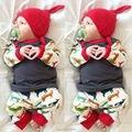 Conjuntos de roupas de bebê de carter meninos das meninas da criança roupas infantis menino veados Natal outfit for kids pijama 3 pcs de roupas de recém-nascidos
