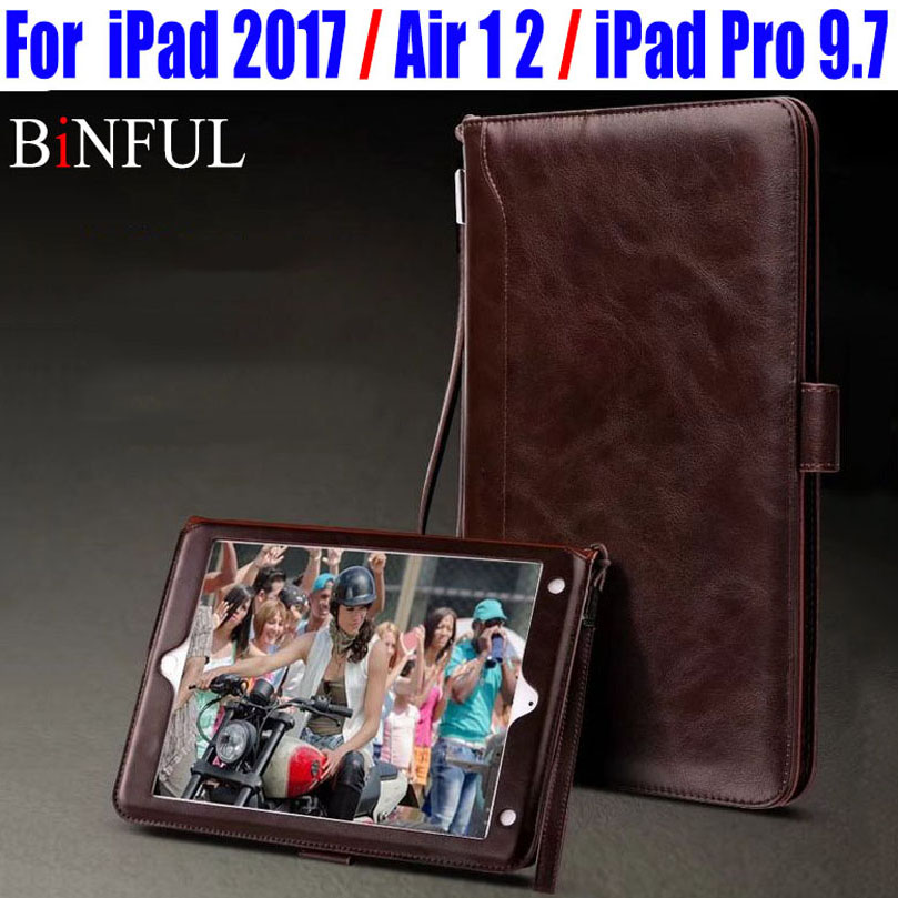 Retro Style Cards Slot Wallet Bag PU Leather Case For IPad 2017 2018 Air/Air2 Smart Cover for iPad Pro 9.7 ID707 durable retro style solid color flip pu leather wallet case for huawei honor 8 pro