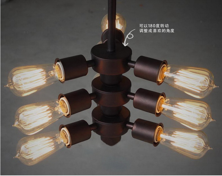 American Countryside 3,6,9 Head Loft Style Chandelier Ajustable Light Wrought Iron Lamp Bars Decoration Light  Free Shipping
