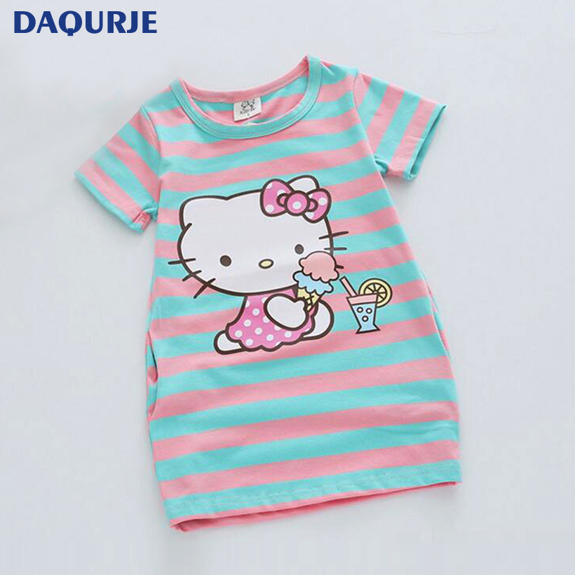 Summer Kids Dresses For Girls 2 6Y Striped Dress Cartoon Hello Kitty Donald Duck Two Sides