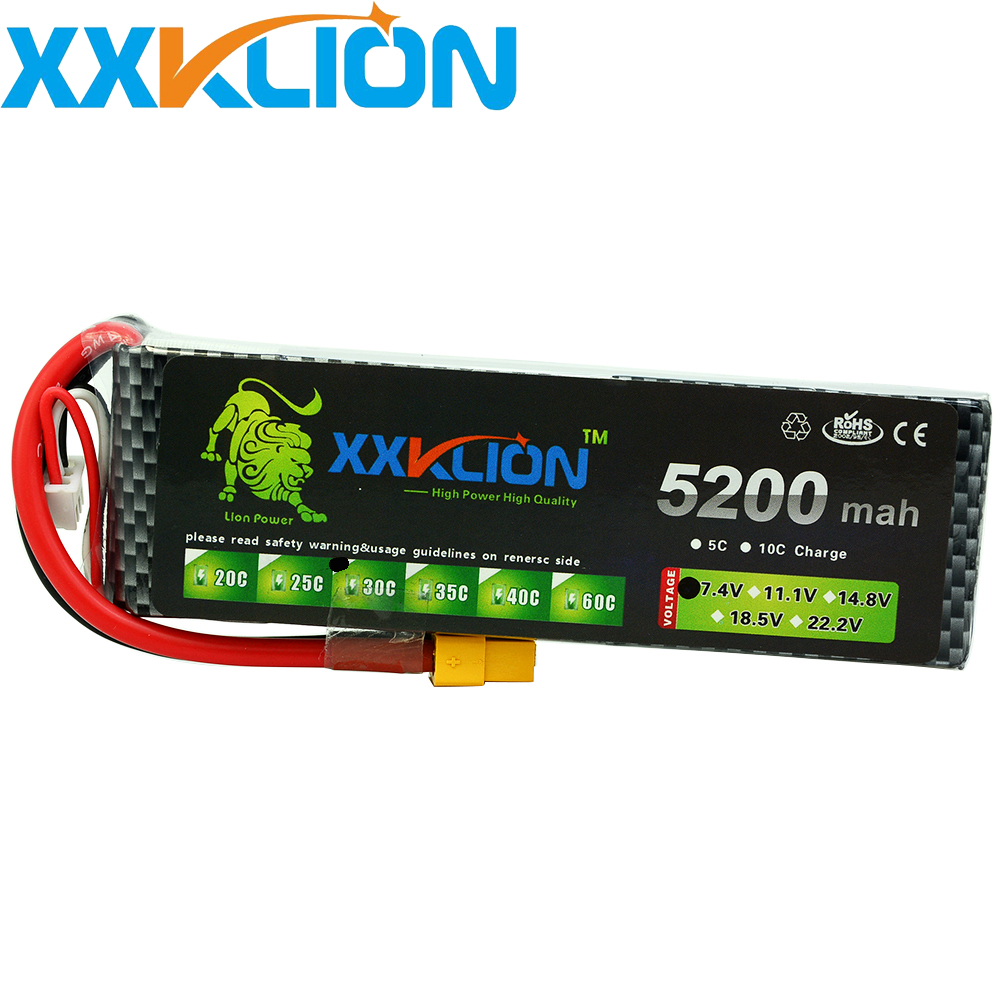 XXKLION <font><b>2S</b></font> <font><b>Lipo</b></font> Battery 7.4v <font><b>5200mAh</b></font> 30C for remote control helicopter rc car rc boat lithium polymer image