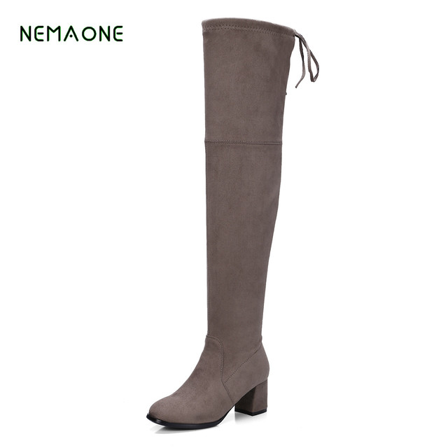 3fc38f06209 NEMAONE Shape Thigh High Boots Womens Suede Over the Knee Boots Stretch  Pointed Toe Party Sexy Female Long Boots Wide Calf with