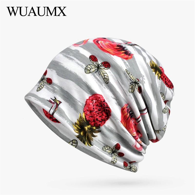Wuaumx 2018 Spring Autumn   Beanies   Hats For Women Cotton Striped Print Turban Hats Hedging Hats Multifunction   Skullies     Beanies
