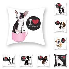 Lovely Dog Cushion Cover Soft Peach Skin Pillow Cases for Sofa Bed Car Decoration Living Room Home Decor Cat Animal Print Covers цены
