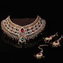 2017 3PC Jewelry Mujer India Maxi Necklace Rhinestones&Pearl Leaf Shape Crystal Women Headwear Earring Collier Choker Statement