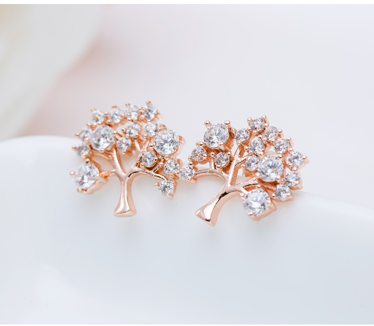 496d5bee2 LUOTEEMI Wholesale New AAA CZ Tree Cut Rose Gold-Color Cute Earrings ...