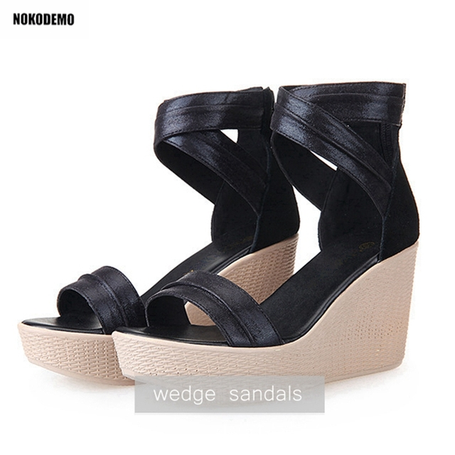 ab14b9ebd549 Women Classic Wedge Sandals Platform High Heeels Wedges Summer Party Shoes  Woman Black Gold With Back Zipper