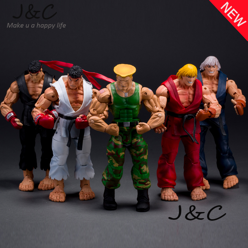 """Free Shipping NECA Player Select Street Fighter IV Survival Model Ken Ryu Guile Action Figure Toy 7"""" 18CM for toys gifts"""