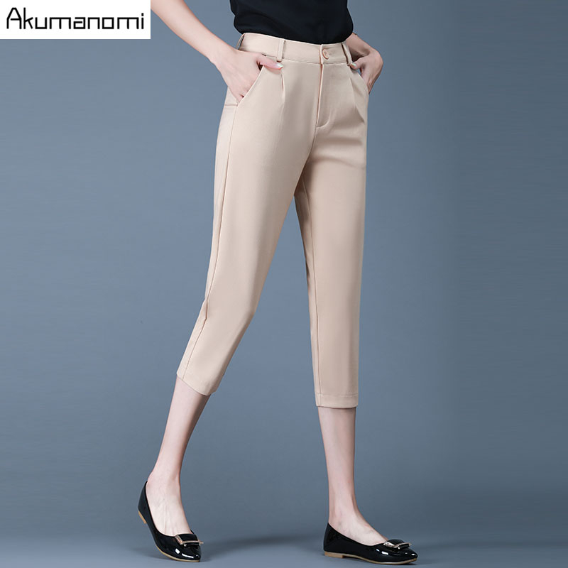 Plus Size Female Elastic   Pants     Capris   4XL-M Good Quality Zipper Pocket Women Crops Super Stretch Summer Calf-length Pencil   Pants